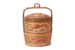 A PAINTED WOVEN BASKET