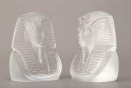 A PAIR OF SASAKI GLASS BUSTS OF EGYPTIAN PHARAOHS