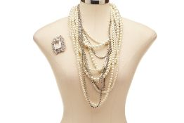 A DIAMANTÉ & PEARL MULTI STRING NECKLACE