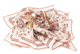 A HERMÈS CARRE KANTHA INDIAN SILK SCARF