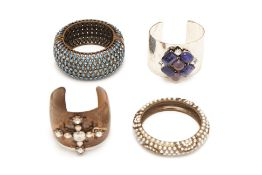 FOUR DIAMANTÉ ENCRUSTED CUFFS