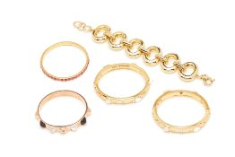 FIVE GOLD TONE BRACELETS AND CUFFS