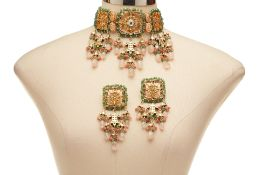 A CHHAVI'S JEWEL COSTUME NECKLACE & MATCHING EARRINGS