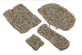A JIAN HUI LONDON BLUE & BROWN BEAD AND KNIT SET