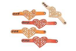 FIVE LEATHER HEART SHAPED BRACELETS