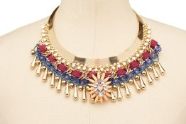FOUR MULTICOLOURED DIAMANTÉ AND BEADED NECKLACES