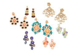 SEVEN PAIRS OF BEADED EARRINGS