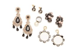 FOUR PAIRS OF EARRINGS & A PEARL RING
