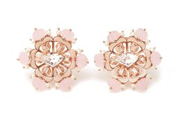 A PAIR OF OUTHOUSE FLUORA ETERNITE BLUSH EAR STUDS