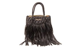 A MIU MIU BLACK LEATHER TASSLE BAG