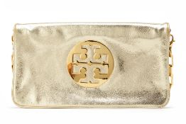 A TORI BURCH GOLD CLUTCH