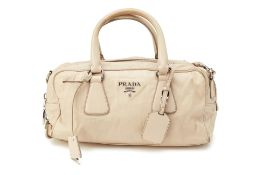 A PRADA PUTTY GREY HANDBAG