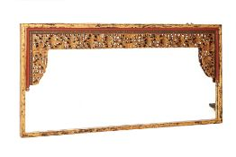 A LARGE GILT MIRROR WITH PERANAKAN CARVINGS
