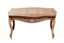 A SYRIAN MOTHER OF PEARL AND BONE INLAID COFFEE TABLE