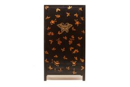 A CHINESE BLACK LACQUER AND GOLD BUTTERFLY CABINET