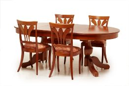 A GRANGE CHERRY WOOD EXTENDING DINING TABLE AND FOUR CHAIRS