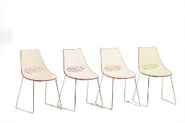 A HARLEQUIN SET OF FOUR COLOURED ITALIAN CHAIRS