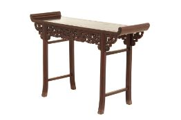 A CARVED HARDWOOD ALTAR FORM CONSOLE TABLE