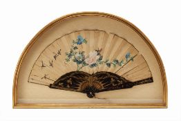 A CHINESE BLACK LACQUER FAN