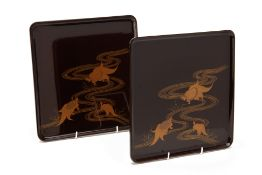 A PAIR OF JAPANESE SQUARE BROWN AND GILT LACQUER TRAYS