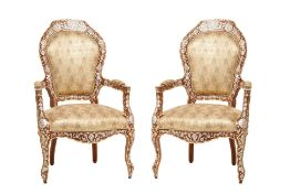 A PAIR OF SYRIAN MOTHER OF PEARL AND BONE INLAID FAUTEUILS
