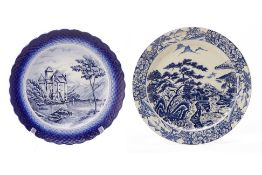 TWO JAPANESE BLUE & WHITE LANDSCAPE CHARGERS