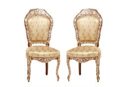 A PAIR OF SYRIAN MOTHER OF PEARL AND BONE INLAID SIDE CHAIRS