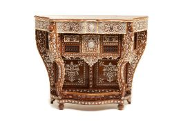 A SYRIAN MOTHER OF PEARL AND BONE INLAID CONSOLE TABLE