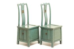 A PAIR OF CHINESE TEAL/GREEN PAINTED CHAIRS
