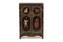 A BLACK LACQUER AND HARDSTONE INLAID SIDE CABINET