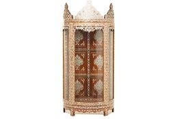 A SYRIAN MOTHER OF PEARL AND BONE INLAID DISPLAY CABINET (1)