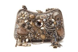 A MARY FRANCES BLACK EMBELLISHED CLUTCH
