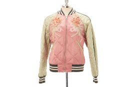 A GUCCI PINK & GREEN QUILTED BOMBER JACKET