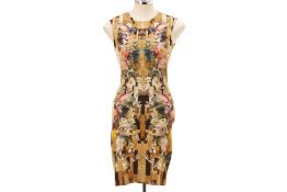 AN ALEXANDER MCQUEEN GOLD PRINTED BODYCON DRESS