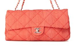 A CHANEL CORAL RED QUILTED PYTHON LEATHER FLAP