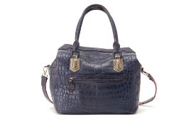 AN ETHAN K TRI-COLOURED CROCODILE SKIN HANDBAG