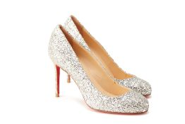 A PAIR OF CHRISTIAN LOUBOUTIN SILVER SPARKLY HEELS EU 35.5