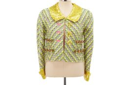 A MARC JACOBS MULTICOLOURED & YELLOW SEQUIN TWEED JACKET