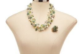 A THAI DESIGNER PEARL & JADE CLUSTER NECKLACE & RING