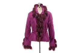 A ROBERTO CAVALLI PLUM QUILTED JACKET WITH FOX FUR