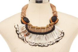 A BROWN FEATHER NECKLACE