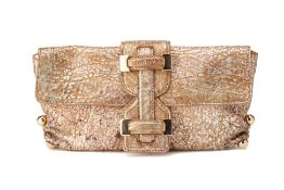 A ROBERTO CAVALLI GOLDEN SPLATTER CLUTCH