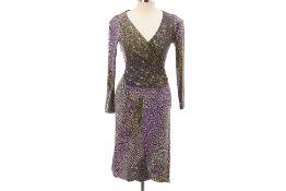 A MISSONI GREEN & PURPLE PRINTED WOOL DRESS