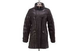 AN EMPORIO ARMANI EA7 BLACK QUILTED COAT