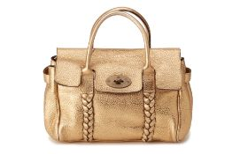 A MULBERRY GOLDEN LEATHER HANDBAG