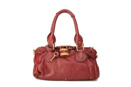 A CHLOE 'PADDINGTON' RED LEATHER BAG