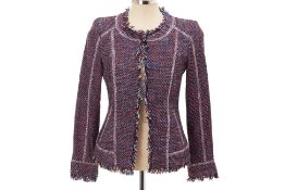 A DKNY RED, BLUE & WHITE TWEED JACKET