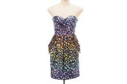A MATTHEW WILLIAMSON STRAPLESS LEAPORD PRINT DRESS