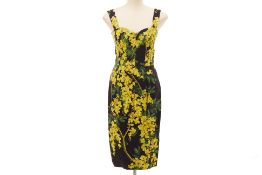 A DOLCE & GABBANA BLACK & YELLOW FLORAL DRESS