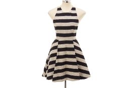 AN ALICE & OLIVIA STRIPED SKATER DRESS
